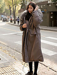Women's Padded Coat,Simple Going out Solid-Others Cotton Long Sleeves