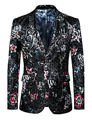 Men's Plus Size Party/Cocktail Club Street chic Punk & Gothic Spring Fall Blazer,Print V Neck Long Sleeve Regular Cotton Polyester