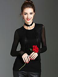 baratos -Mulheres Camiseta Diário Feriado Fofo Sensual Moda de Rua Primavera Outono, Sólido Poliéster Decote Redondo Manga Longa