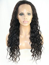 cheap -Women Human Hair Lace Wig Remy Glueless Lace Front 150% 130% Density With Baby Hair Water Wave Wig Black Short Medium Long