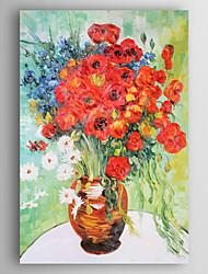 baratos -Pintados à mão Floral/Botânico Vertical,Nova chegada 1 Painel Tela Pintura a Óleo For Decoração para casa