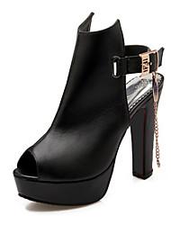 Feminino Sapatos Couro Ecológico Primavera Verão Conforto Inovador Botas da Moda Curta/Ankle Botas Salto Grosso Peep Toe Botas Curtas /