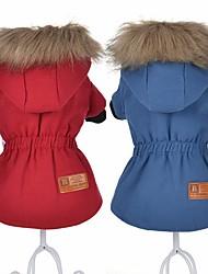 Cachorro Casacos Roupas para Cães Terylene Algodão Pele Inverno Mantenha Quente Sólido Vermelho Azul Para animais de estimação