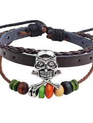 cheap -Men's / Women's Strand Bracelet / Leather Bracelet - Leather Skull Hip-Hop Bracelet Coffee For Casual / Going out