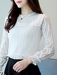 cheap -Women's Going out Casual Blouse - Solid Colored, Lace Crew Neck
