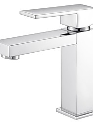 Modern/Comtemporary Deck Mounted Adjustable Temperature with  Ceramic Valve One Hole for  Chrome , Bathroom Sink Faucet