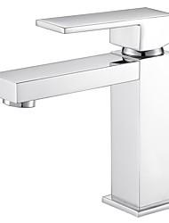 Modern/Contemporary Deck Mounted Adjustable Temperature Ceramic Valve One Hole Chrome , Bathroom Sink Faucet