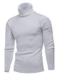 Standard Pullover Da uomo-Casual Ufficio Semplice Romantico Tinta unita A collo alto Manica lunga Modal Primavera Inverno Medio spessore
