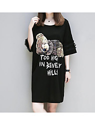 Tee Shirt Robe Femme Décontracté / Quotidien Couleur Pleine Imprimé Lettre Col Arrondi Au dessus du genou Manches Courtes Coton Eté