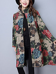 cheap -Women's Chinoiserie Coat-Art Deco,Print Stand