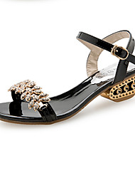 cheap -Women's Shoes PU Spring Summer Comfort Sandals Chunky Heel Open Toe Rhinestone Imitation Pearl Buckle for Dress Gold Black Silver