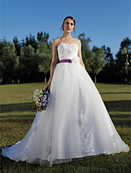 cheap -Ball Gown Sweetheart Cathedral Train Tulle Wedding Dress with Beading Appliques Sash / Ribbon Flower by QQC Bridal
