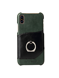 cheap -Case For Apple iPhone X iPhone X Card Holder Ring Holder Back Cover Solid Color Hard Genuine Leather for iPhone X