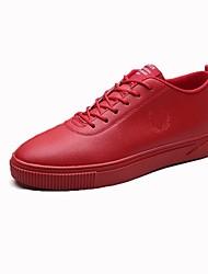 Herren Sneakers Komfort Frühling Herbst PU Normal Schnürsenkel Flacher Absatz Weiß Schwarz Rot Flach