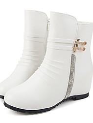 Da donna Stivaletti Comoda Anfibi Autunno Inverno Finta pelle Casual Formale Con diamantini Cerniera Basso Bianco Nero 5 - 7 cm