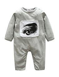 baratos -bebê Para Meninos Peça Única Retalhos Outono 100% Algodão Manga Longa Branco Preto Cinzento