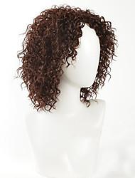 Donna Parrucche sintetiche Senza tappo Medio Riccio Marrone Parrucca riccia stile afro Parrucca naturale Parrucca per travestimenti