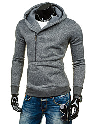 Men's Sports Casual/Daily Simple Street chic Punk & Gothic Hoodie Solid Round Neck Fleece Lining Micro-elastic Cotton Long Sleeve Fall