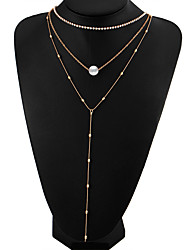 cheap -Women's Drop Fashion Simple Style Multi Layer Layered Necklace Imitation Pearl Crystal Imitation Pearl Alloy Layered Necklace , Wedding