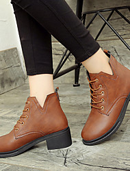 Women's Shoes PU Fall Winter Comfort Boots Low Heel Booties/Ankle Boots With Lace-up For Casual Brown Black