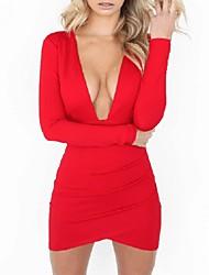 abordables -Femme Moulante Robe - Dos Nu, Couleur Pleine V Profond Au dessus du genou Rouge