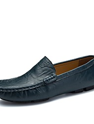 Недорогие -Для мужчин обувь Дерматин Кожа Весна Осень Удобная обувь Мокасины и Свитер Комбинация материалов Назначение Повседневные Белый Черный
