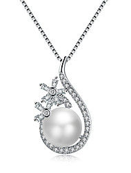 cheap -Women's Drop Flower Shape Luxury Fashion Pendant Necklace Cubic Zirconia Imitation Pearl Imitation Pearl Zircon Pendant Necklace Wedding