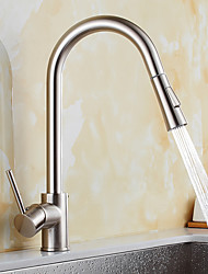 cheap -Contemporary Pull-out/­Pull-down Standard Spout Vessel Widespread Rotatable Pull out Ceramic Valve Nickel Brushed , Kitchen faucet