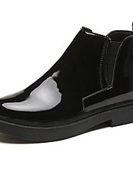 baratos -Mulheres Sapatos Couro Ecológico Primavera / Outono Coturnos / Conforto Botas Sem Salto / Salto Robusto Ponta Redonda Botas Curtas / Ankle