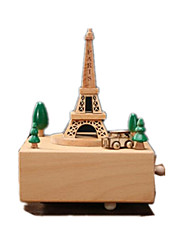 cheap -Music Box Toys Retro Square Famous buildings House Horse Carousel Wooden Wood 1 Pieces Not Specified Birthday Gift