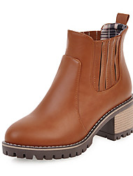 Women's Shoes Leatherette Fall Winter Fashion Boots Bootie Boots Chunky Heel Round Toe Booties/Ankle Boots Split Joint For Casual Dress