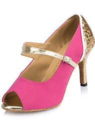 """cheap -Women's Latin Sparkling Glitter Sandal Heel Sneaker Indoor Sequin Stiletto Heel Fuchsia Blue 3"""" - 3 3/4"""" Customizable"""