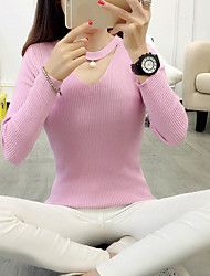 preiswerte -Damen Ausgehen Baumwolle Langarm Pullover - Solide V-Ausschnitt