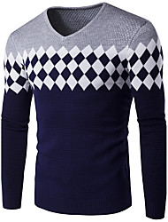 cheap -Men's Plus Size Casual Regular Pullover,Print Houndstooth Round Neck Long Sleeves Cotton Winter Fall Medium Stretchy