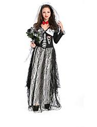 preiswerte -Skelett / Totenkopf Zombie Braut Cosplay Kostüme Halloween Tag der Toten Fest / Feiertage Halloween Kostüme Schwarz Modisch
