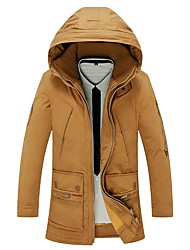 Men's Regular Down Coat,Simple Casual/Daily Solid-Others White Duck Down Long Sleeves Hooded