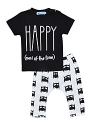 cheap -Baby Boys' Indoor Outdoor Casual/Daily Print Clothing Set, Cotton Summer Fall Cartoon Short Sleeve Black