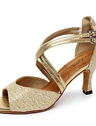 Women's Latin Glitter Tulle PU Heel Indoor Buckle Splicing Gold Black Silver Customizable