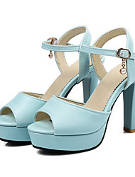 cheap -Women's Shoes PU(Polyurethane) Spring / Fall Comfort / Novelty Sandals Peep Toe Buckle / Hollow-out White / Blue / Pink / Party & Evening