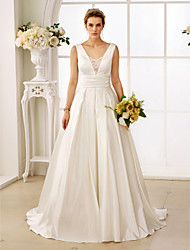 cheap -A-Line Princess Plunging Neckline Sweep / Brush Train Satin Wedding Dress with Lace Ruching by LAN TING BRIDE®