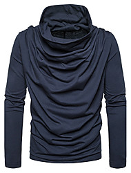 cheap -Men's Daily Going out Casual Regular Pullover,Solid Cowl Neck Long Sleeves Cotton Winter Fall Medium Stretchy