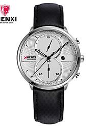 Pánské Hodinky k šatům Módní hodinky čínština Křemenný Kalendář Kůže Kapela Přívěšky Luxus Na běžné nošení Cool Černá