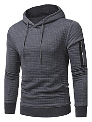 Men's Plus Size Casual Hoodie Solid Hooded Micro-elastic Polyester Long Sleeve Winter Fall
