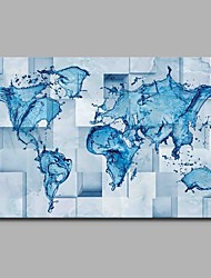 cheap -Hand-Painted Maps Horizontal, Artistic Abstract Birthday Cool Modern/Contemporary Office/Business Christmas New Year's Canvas Print Home