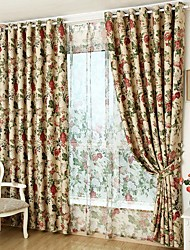 Rod Pocket Grommet Top Double Pleated Pencil Pleated Curtain Rustic , Floral Living Room Material Blackout Curtains Drapes Home Decoration