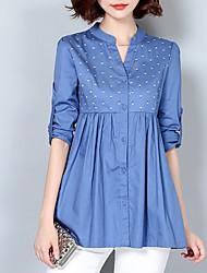 Camicia Da donna Casual Sensuale Primavera Autunno,Ricamato A V Cotone Manica lunga Medio spessore