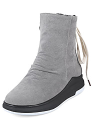 cheap -Women's Shoes Nubuck leather Winter Fall Fashion Boots Bootie Boots Wedge Heel Round Toe Booties/Ankle Boots Zipper Lace-up for Casual