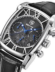 cheap -Men's Quartz Wrist Watch Japanese Calendar / date / day / Cool / Stopwatch Genuine Leather Band Luxury / Casual / Fashion Black / Brown