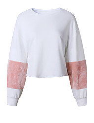 Women's Holiday Casual/Daily Simple Street chic Sweatshirt Color Block Fur Trim Patchwork Round Neck Micro-elastic Faux Fur Polyester