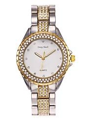abordables -Mujer Simulado Diamante Reloj Reloj Esqueleto Reloj de Moda Chino Cuarzo Gran venta Aleación Banda Casual Plata Dorado